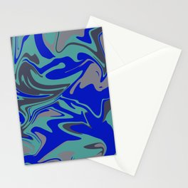 Liquid Marble ´Design - Turquoise blue grey Color Stationery Cards