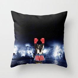 Thunder Cat Fight Rockyitty Throw Pillow