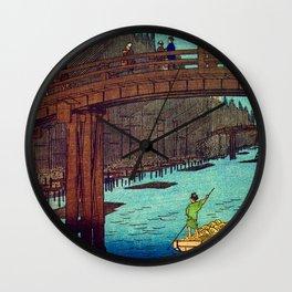 Beautiful Evening Across The Bridge Wall Clock