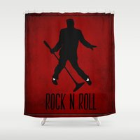 rock n roll Shower Curtains featuring Rock N Roll by Eleanor Rose