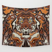 tigers Wall Tapestries featuring Tigers by Darish