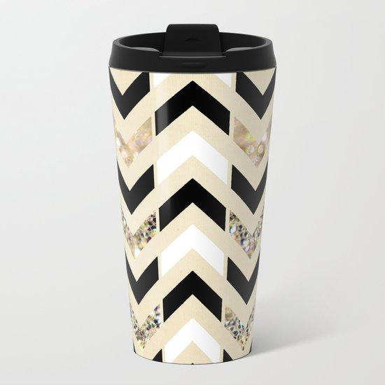 Black, White & Gold Glitter Herringbone Chevron on Nude Cream Metal Travel Mug