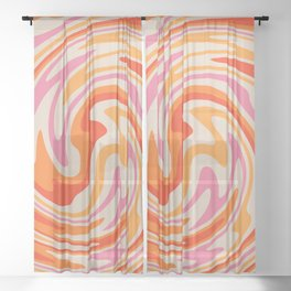 70s Retro Swirl Color Abstract Sheer Curtain