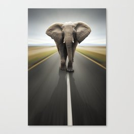 Elephant Trucker Canvas Print
