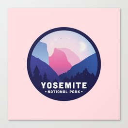 Yosemite National Park Badge in Pink Canvas Print