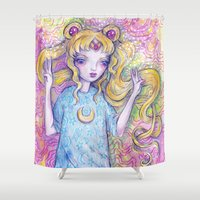 sailor moon Shower Curtains featuring Sailor Moon by Brettisagirl