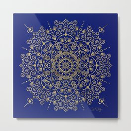 Moroccan Mandala – Gold Ink on Navy Metal Print