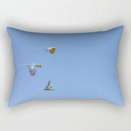 Blue macaws flying under blue sky Rectangular Pillow