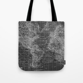 Black and White World Map (1901) Inverse 2 Tote Bag