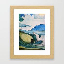 Watercolor Surfer Framed Art Print