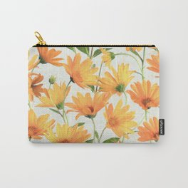 Painted Radiant Orange Daisies on off-white Carry-All Pouch