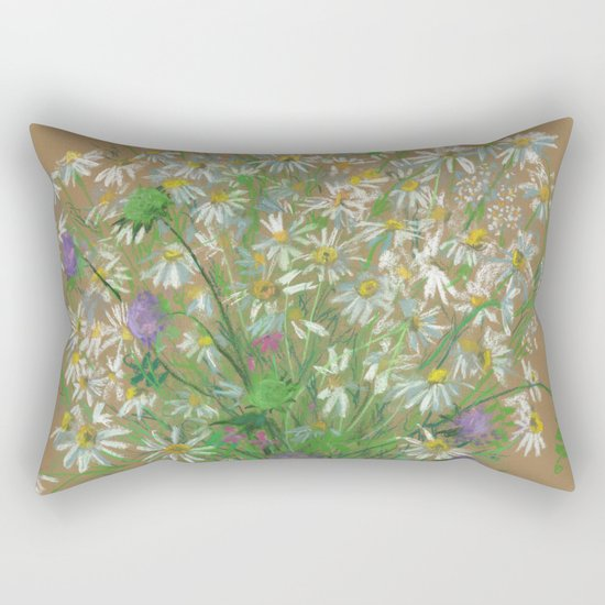 """Meadow flowers"", white daisies, floral art, pastel drawing Rectangular Pillow"