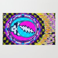 grateful dead Area & Throw Rugs featuring Grateful Dead #11 Optical Illusion Psychedelic Design by CAP Artwork & Design