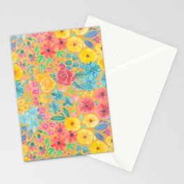 Floral watercolor pattern in yellow Stationery Cards