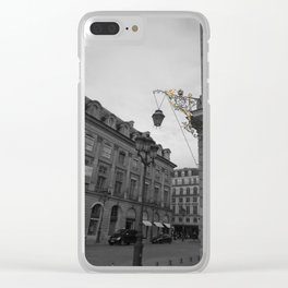 Paris black and white with color GOLD Clear iPhone Case