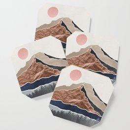 Mount Hood // Daylight Art Print Oregon Stratovolcano Rose Gold Silver Blue Cream Black Mountain Coaster