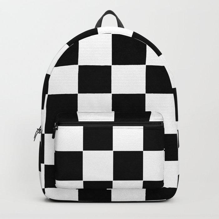 Checker Cross Squares Black & White Backpack