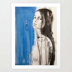 The figure of a woman crossing from one room to another Art Print