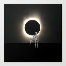 Wooden Anatomy Father Doll and Child before Total Solar Eclipse Canvas Print