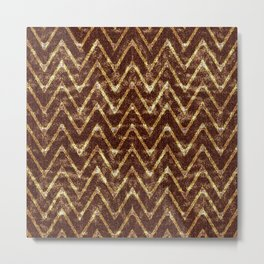 Nut Brown Imitation Suede Zig Zag Pattern Metal Print