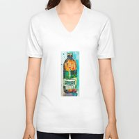 ale giorgini V-neck T-shirts featuring Genesee Cream Ale by Dorrie Rifkin Watercolors