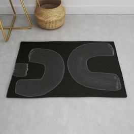 Black And White Minimalist Mid Century Abstract Ink Art Curved Tribal Mysterious Shapes Rug