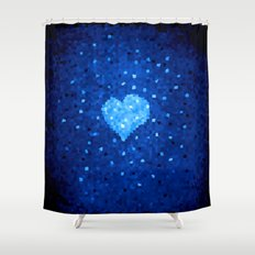 Winter Blue Crystallized Abstract Heart Shower Curtain