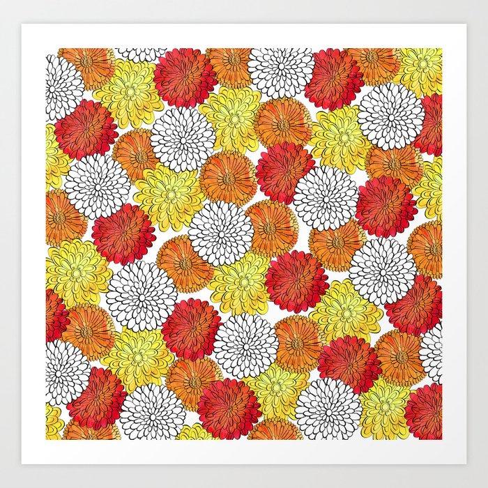 Dahlia Garden Summer Art Print