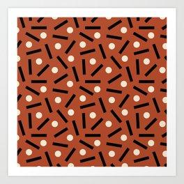 Postmodern Sticks + Stones in Terracotta Art Print