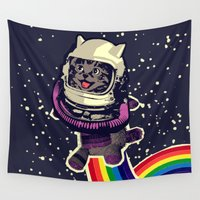 space cat Wall Tapestries featuring space cat by Jimi Grey