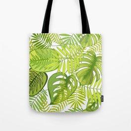 Green tropical leaves. Tote Bag
