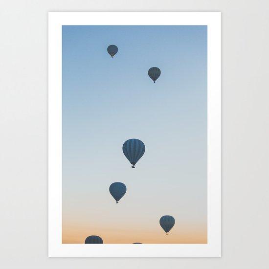 balloons over the desert Art Print