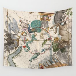 Old Constellation Map Year 1693 Wall Tapestry