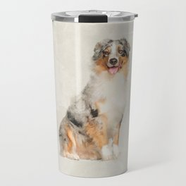 Australian Shepherd - Blue Merle Watercolor Digital Art Travel Mug
