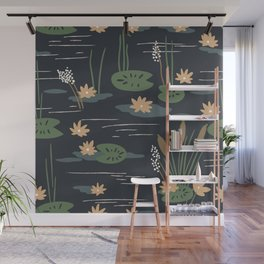 Lily Pad Pond Lotus Flowers Vector Minimalist Art Wall Mural
