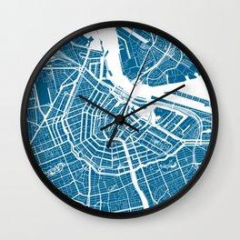 Blue City Map of Amsterdam, Netherlands Wall Clock