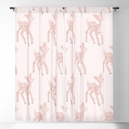 Little deer/fawn cross stitch pattern in pink Blackout Curtain