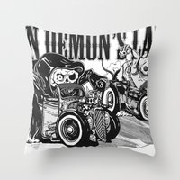pocket fuel Throw Pillows featuring Gimme Fuel! by Van Demon's Land Clothing