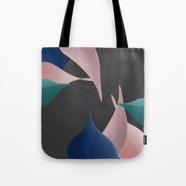 Gentle Leaves In Pinks, Blue, and Teal With Dark Gray Background Tote Bag