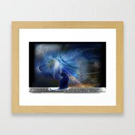 Cyberspace Cat Framed Art Print
