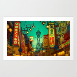 Osaka Nights - Shinsekai, New World / Liam Wong Art Print