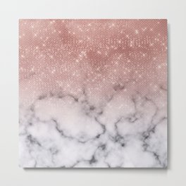 Rose Gold Sequin Glitter White Marble Ombre Metal Print