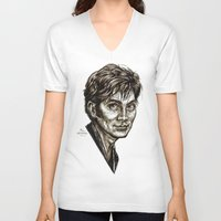 david tennant V-neck T-shirts featuring David Tennant - Doctor Who - Allons-y (Drawing) by ieIndigoEast