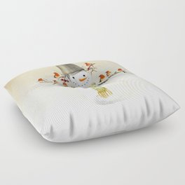Snowman and Birds Floor Pillow