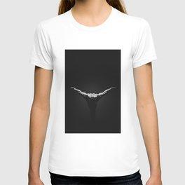 Muscular bodybuilder flies like a bird on a black background T-shirt