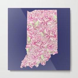 Indiana in Flowers Metal Print