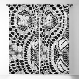 White Lace Pattern Blackout Curtain