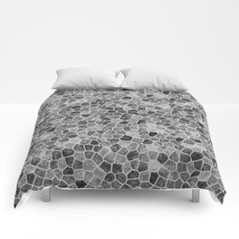The Paths Taken Black and White Cobblestone Pattern Comforters