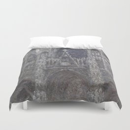 1892-Claude Monet-The Cathedral in Rouen. The portal, Grey Weather-65 x 100 Duvet Cover