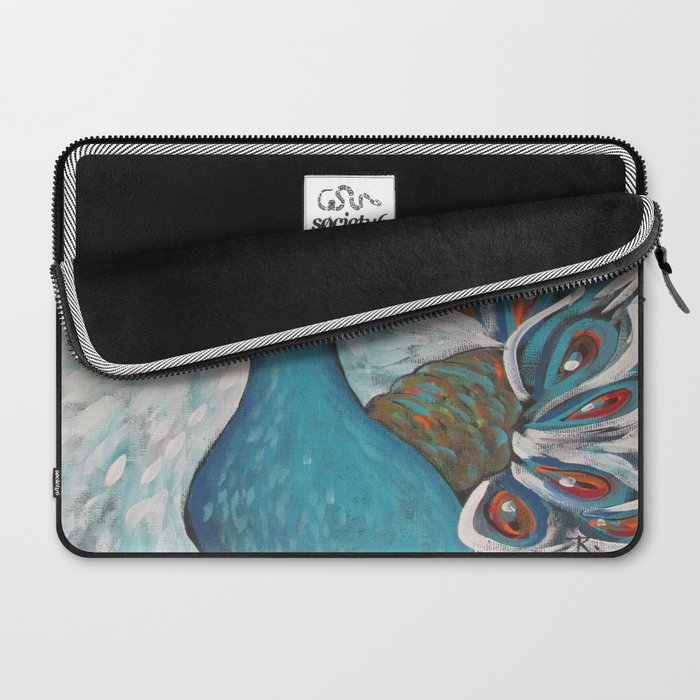 Blue Peacock with Blue Laptop Sleeve